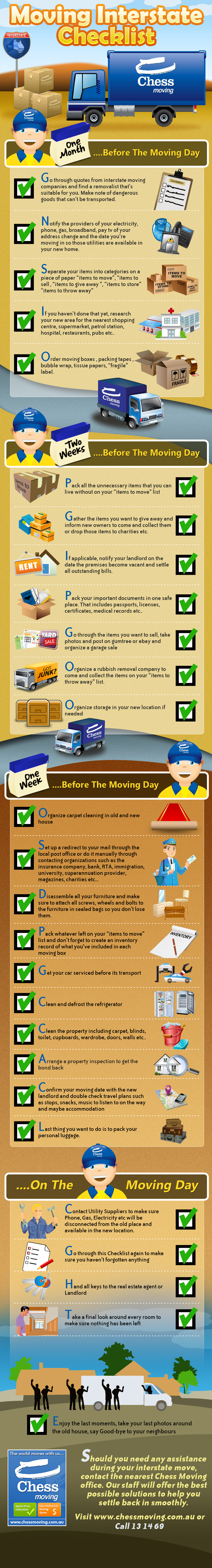 A checklist of items to complete before moving interstate!